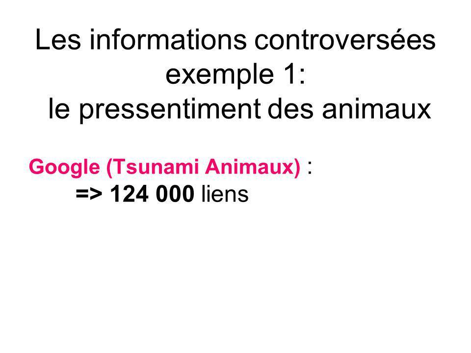 Les informations controversées exemple 1: le pressentiment des animaux Google (Tsunami Animaux) : => 124 000 liens
