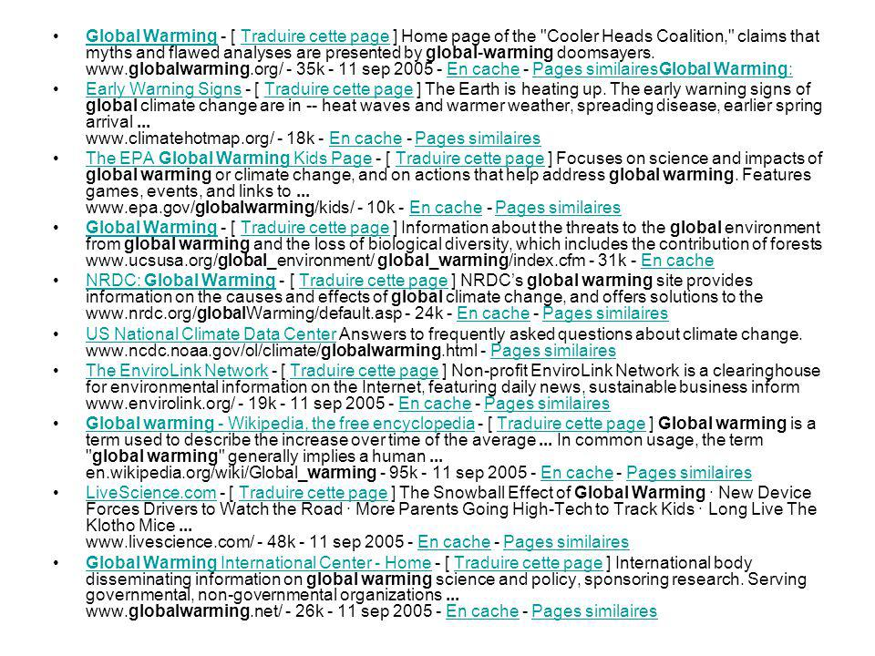 Global Warming - [ Traduire cette page ] Home page of the Cooler Heads Coalition, claims that myths and flawed analyses are presented by global-warming doomsayers.