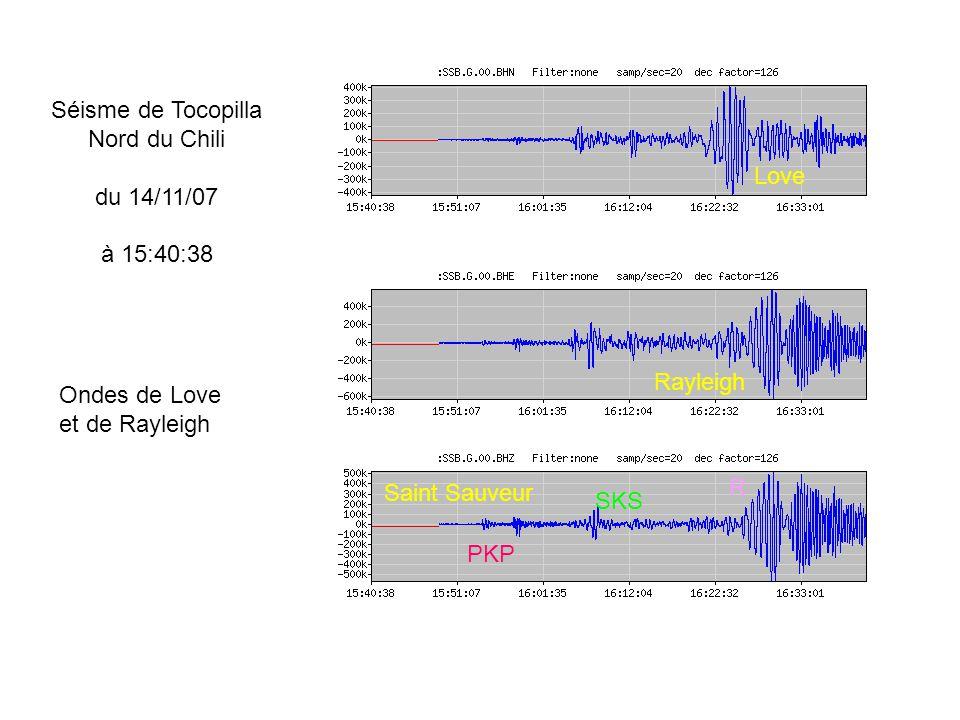 PKP SKS Saint Sauveur R Love Rayleigh Séisme de Tocopilla Nord du Chili du 14/11/07 à 15:40:38 Ondes de Love et de Rayleigh