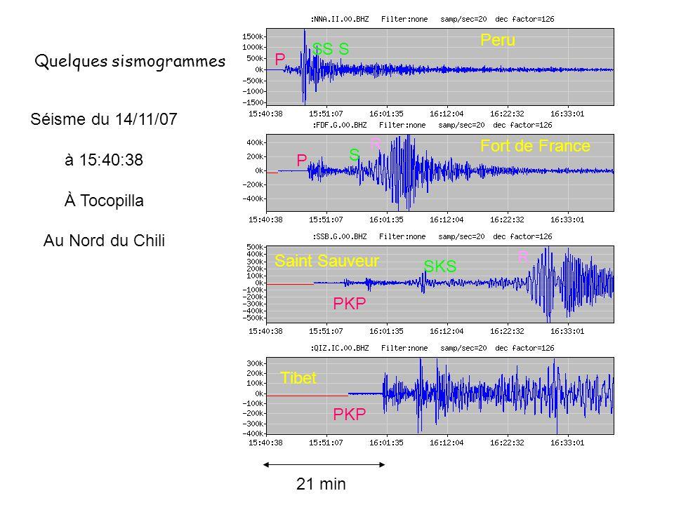 Quelques sismogrammes Séisme du 14/11/07 à 15:40:38 À Tocopilla Au Nord du Chili P P PKP SSS S 21 min Peru Fort de France Tibet PKP SKS Saint Sauveur