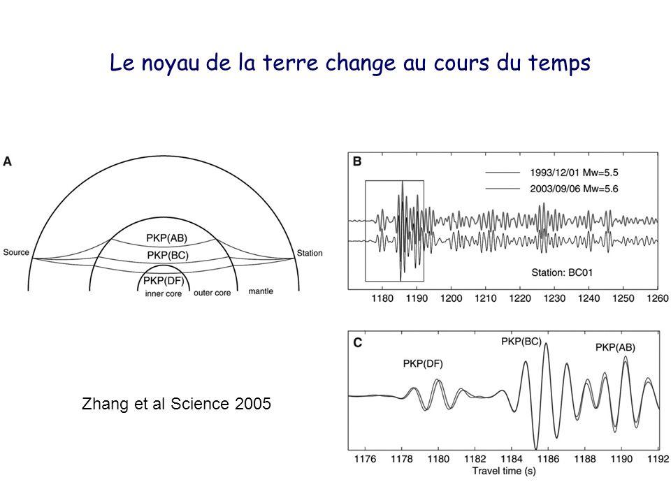 Le noyau de la terre change au cours du temps Zhang et al Science 2005