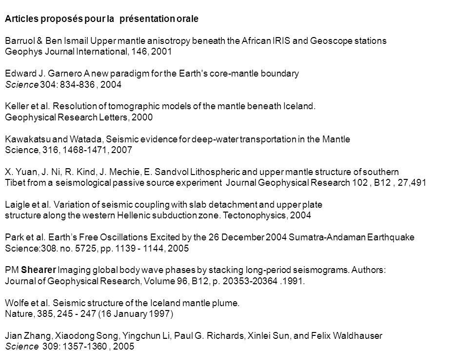 Articles proposés pour la présentation orale Barruol & Ben Ismail Upper mantle anisotropy beneath the African IRIS and Geoscope stations Geophys Journ