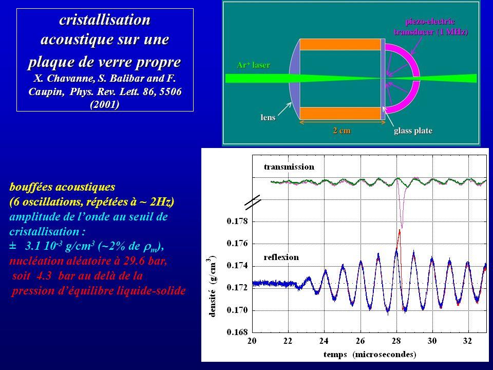 cristallisation acoustique sur une plaque de verre propre X. Chavanne, S. Balibar and F. Caupin, Phys. Rev. Lett. 86, 5506 (2001) bouffées acoustiques