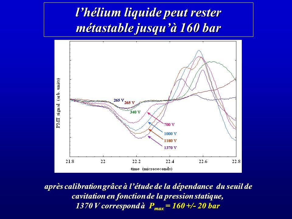 lhélium liquide peut rester métastable jusquà 160 bar après calibration grâce à létude de la dépendance du seuil de cavitation en fonction de la pression statique, 1370 V correspond à P max = 160 +/- 20 bar
