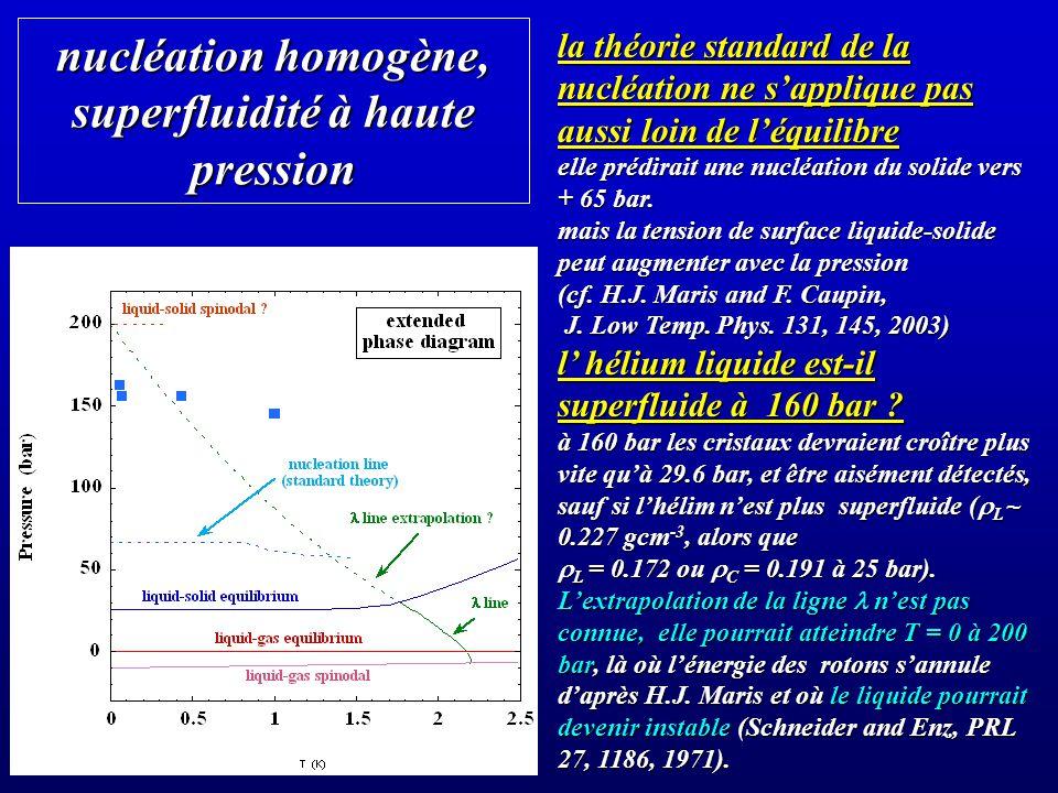 nucléation homogène, superfluidité à haute pression la théorie standard de la nucléation ne sapplique pas aussi loin de léquilibre elle prédirait une