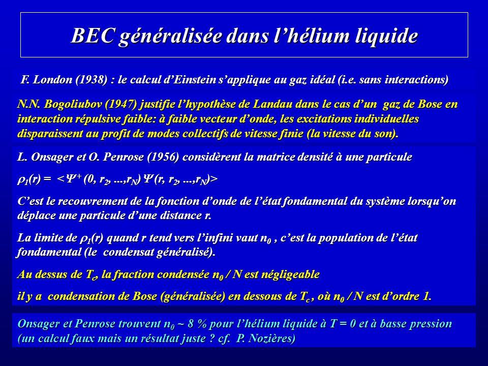 BEC généralisée dans lhélium liquide F. London (1938) : le calcul dEinstein sapplique au gaz idéal (i.e. sans interactions) F. London (1938) : le calc