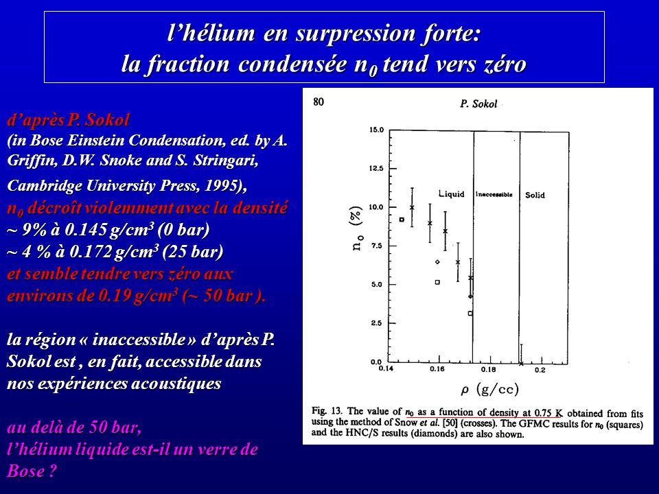 lhélium en surpression forte: la fraction condensée n 0 tend vers zéro daprès P. Sokol (in Bose Einstein Condensation, ed. by A. Griffin, D.W. Snoke a
