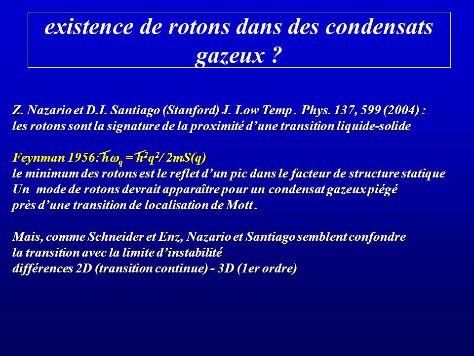 existence de rotons dans des condensats gazeux ? Z. Nazario et D.I. Santiago (Stanford) J. Low Temp. Phys. 137, 599 (2004) : les rotons sont la signat