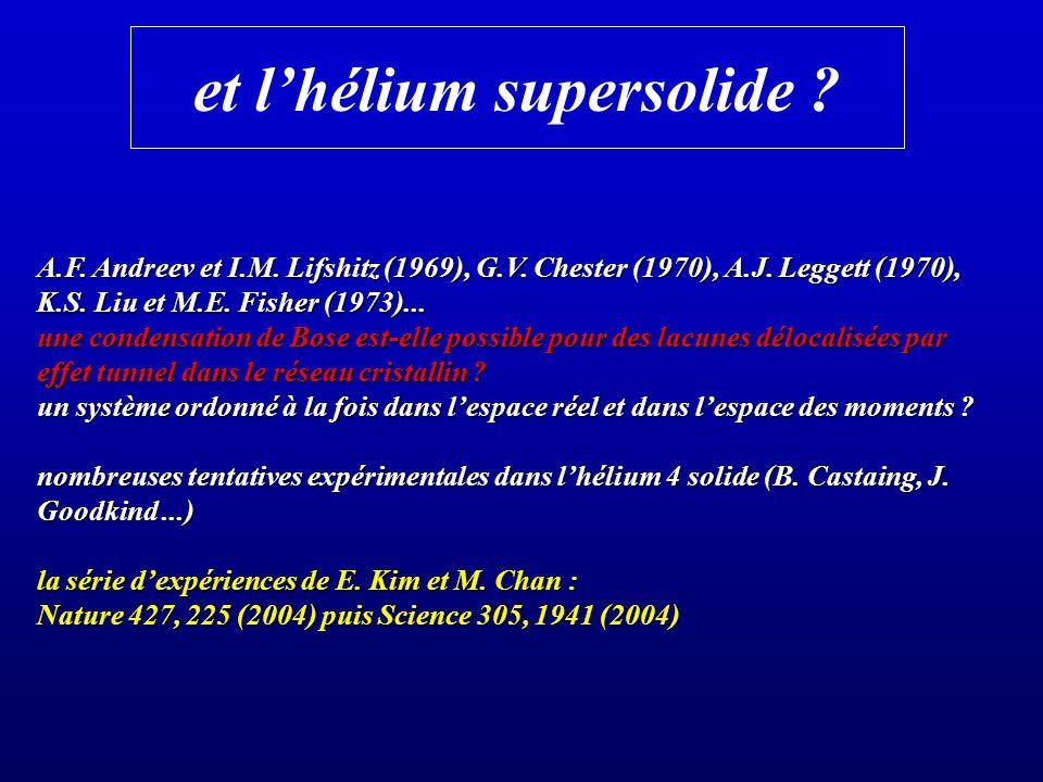 et lhélium supersolide ? A.F. Andreev et I.M. Lifshitz (1969), G.V. Chester (1970), A.J. Leggett (1970), K.S. Liu et M.E. Fisher (1973)... une condens