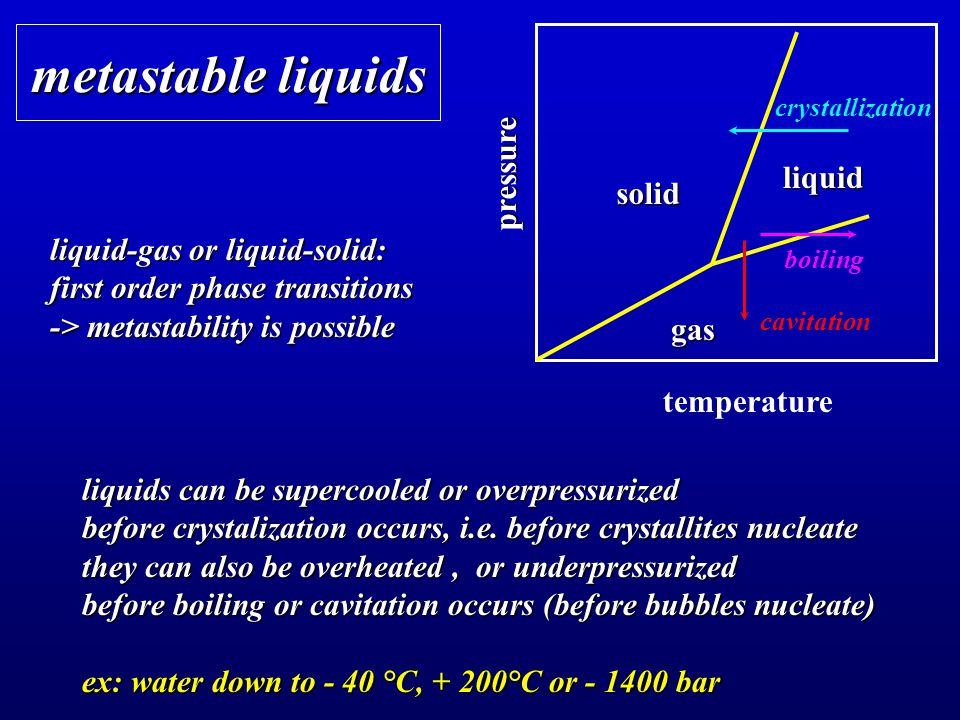 metastable liquids liquid-gas or liquid-solid: first order phase transitions -> metastability is possible temperature pressure crystallization solid liquid gas boiling cavitation liquids can be supercooled or overpressurized before crystalization occurs, i.e.