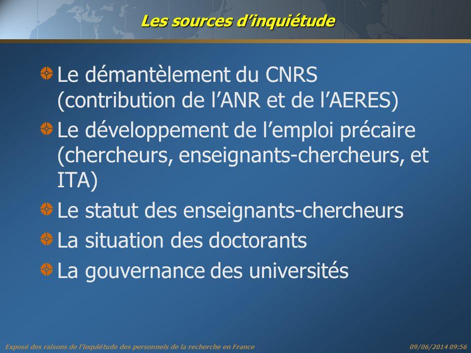 Exposé des raisons de linquiétude des personnels de la recherche en France 09/06/2014 09:57 1 ere source dinquiétude: la disparition du CNRS ANR ANR: Le CNRS ne finance plus « ses » laboratoires: plus de programmes thématiques (PN??), moins de soutien de base (-50% en 4 ans).