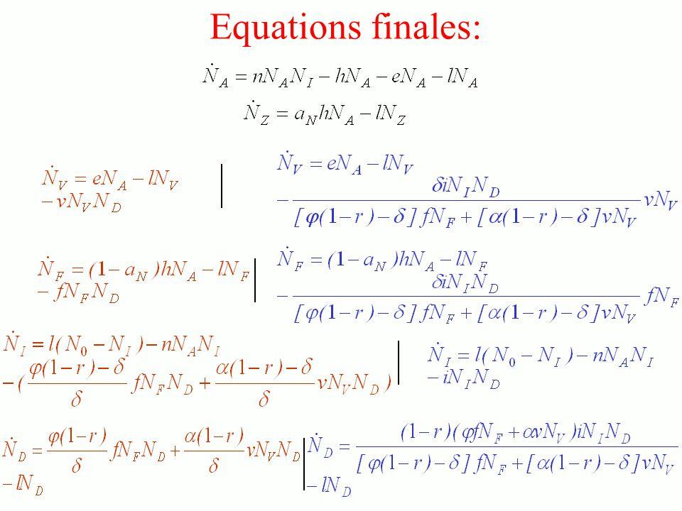 Equations finales: