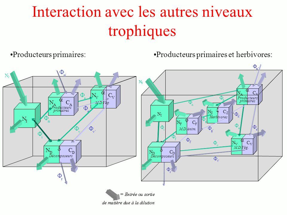 Interaction avec les autres niveaux trophiques Producteurs primaires:Producteurs primaires et herbivores: N 0 i v v r N I N D C D C V N V C A N A n n e e Décomposeurs M.D.Vég.