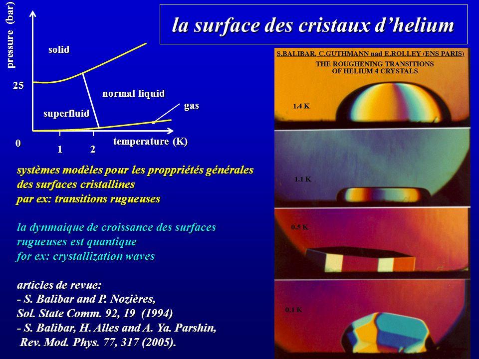 la surface des cristaux dhelium systèmes modèles pour les proppriétés générales des surfaces cristallines par ex: transitions rugueuses la dynmaique de croissance des surfaces rugueuses est quantique for ex: crystallization waves articles de revue: - S.