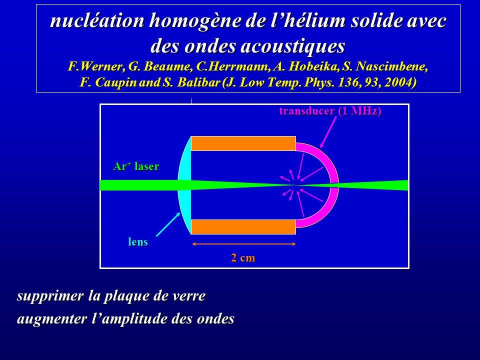 nucléation homogène de lhélium solide avec des ondes acoustiques F.Werner, G.
