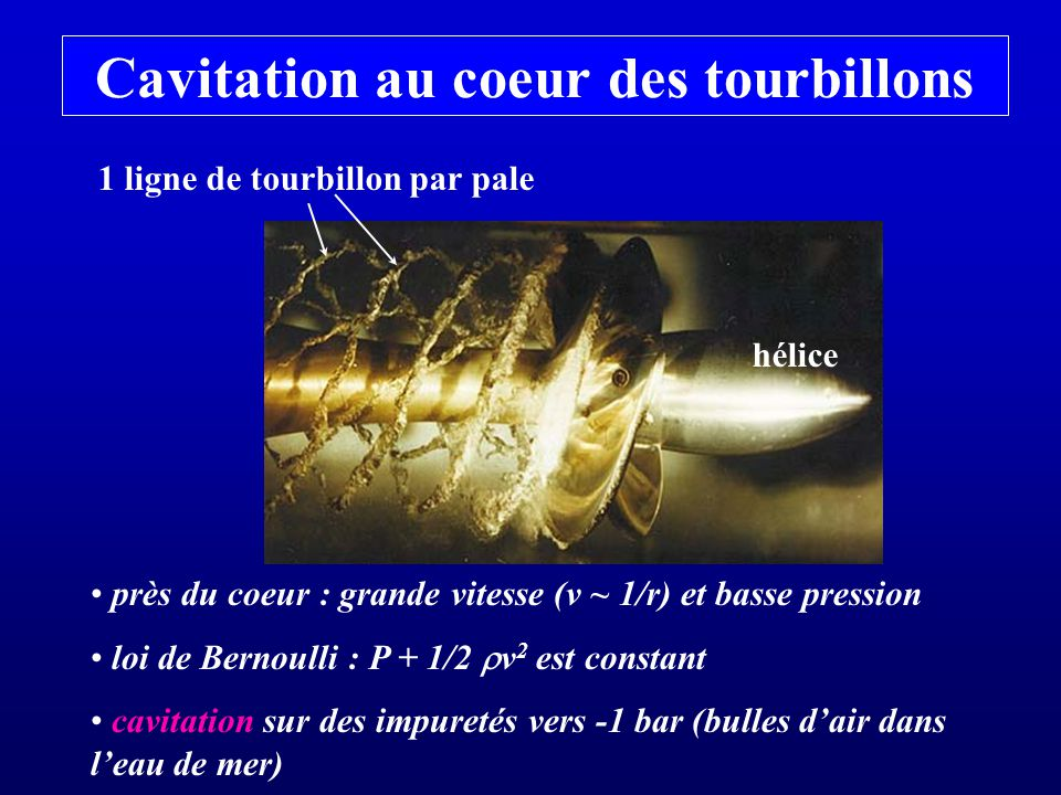 Cavitation au coeur des tourbillons 1 ligne de tourbillon par pale hélice près du coeur : grande vitesse (v ~ 1/r) et basse pression loi de Bernoulli : P + 1/2 v 2 est constant cavitation sur des impuretés vers -1 bar (bulles dair dans leau de mer)