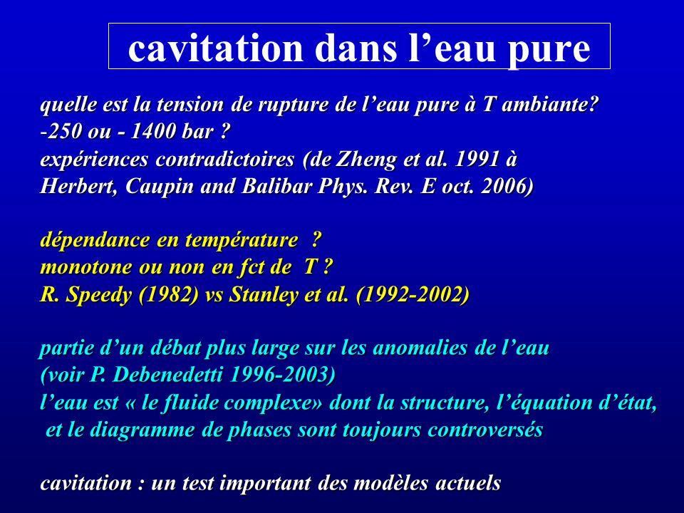 cavitation dans leau pure quelle est la tension de rupture de leau pure à T ambiante? -250 ou - 1400 bar ? expériences contradictoires (de Zheng et al