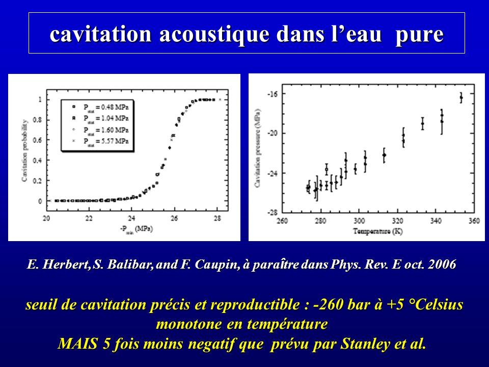 cavitation acoustique dans leau pure E. Herbert, S. Balibar, and F. Caupin, à para î tre dans Phys. Rev. E oct. 2006 seuil de cavitation précis et rep