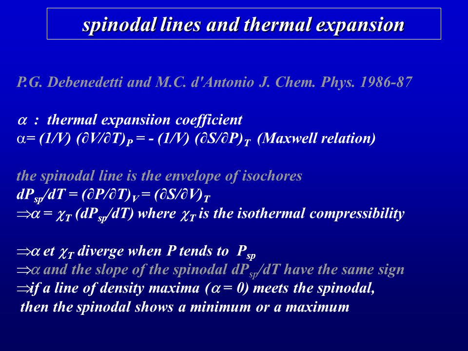 spinodal lines and thermal expansion P.G. Debenedetti and M.C. d'Antonio J. Chem. Phys. 1986-87 : thermal expansiion coefficient = (1/V) (V/T) P = - (