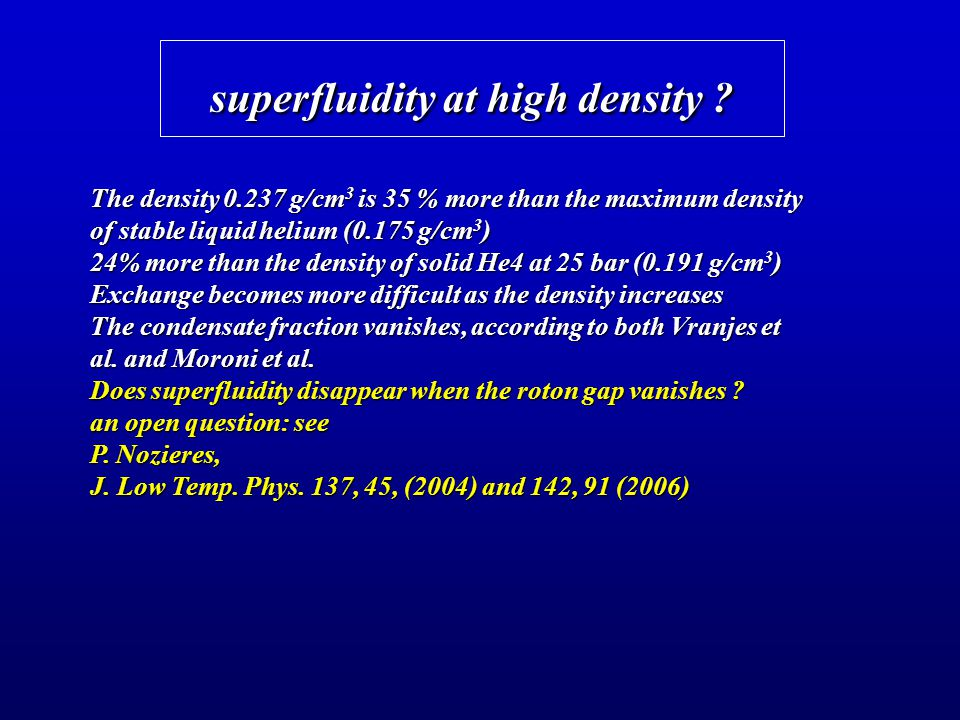 superfluidity at high density ? The density 0.237 g/cm 3 is 35 % more than the maximum density of stable liquid helium (0.175 g/cm 3 ) 24% more than t