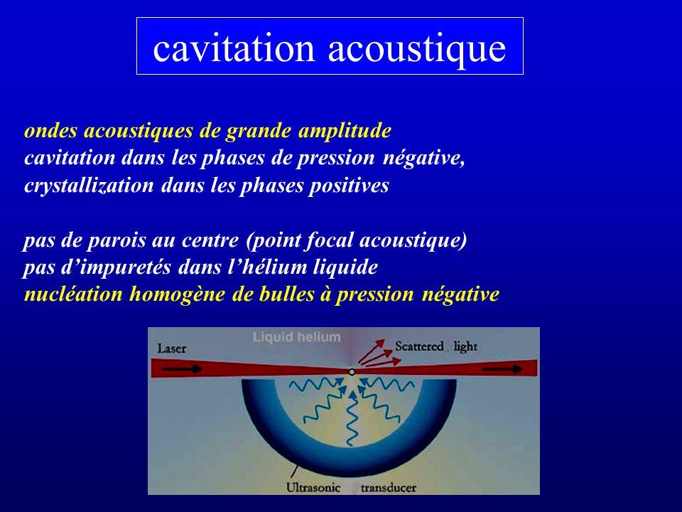 cavitation acoustique ondes acoustiques de grande amplitude cavitation dans les phases de pression négative, crystallization dans les phases positives pas de parois au centre (point focal acoustique) pas dimpuretés dans lhélium liquide nucléation homogène de bulles à pression négative