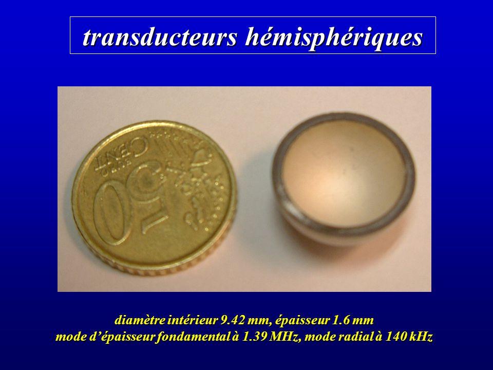transducteurs hémisphériques diamètre intérieur 9.42 mm, épaisseur 1.6 mm mode dépaisseur fondamental à 1.39 MHz, mode radial à 140 kHz