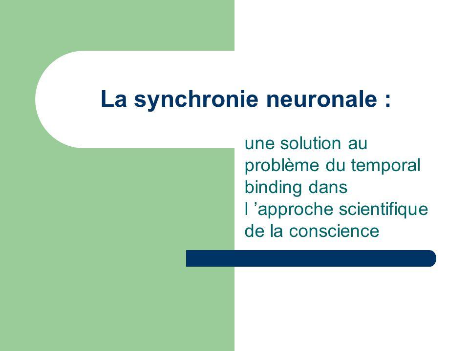 La synchronie à tous les niveaux de la conscience Conscience Arisal Segmentation Sélection Working Memory NCC = Neuronal Correlate of Consciousness