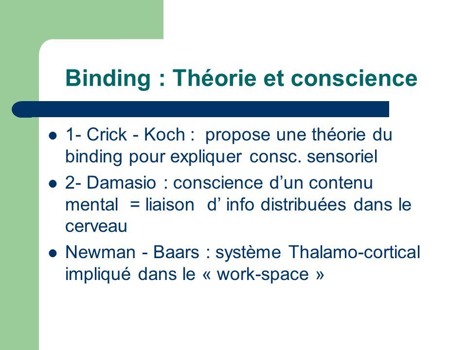Binding : Théorie et conscience 1- Crick - Koch : propose une théorie du binding pour expliquer consc.