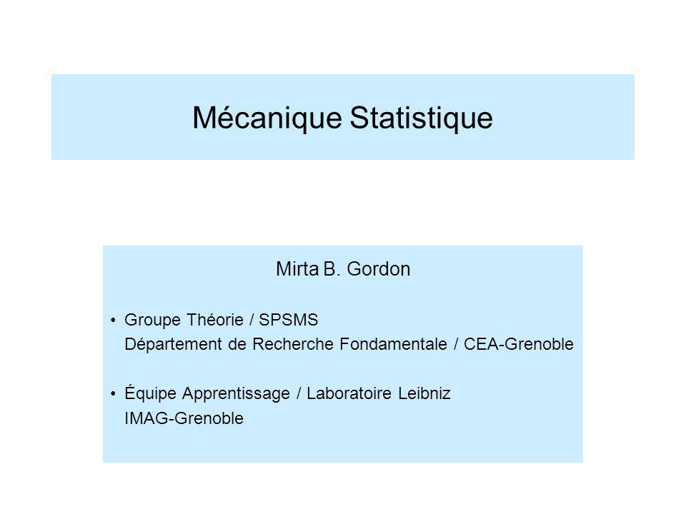 Mécanique Statistique Mirta B. Gordon Groupe Théorie / SPSMS Département de Recherche Fondamentale / CEA-Grenoble Équipe Apprentissage / Laboratoire L