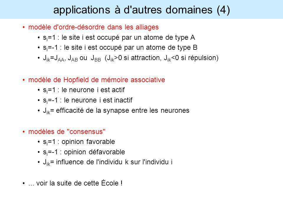 applications à d'autres domaines (4) modèle d'ordre-désordre dans les alliages s i =1 : le site i est occupé par un atome de type A s i =-1 : le site