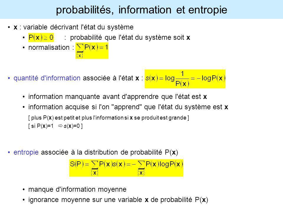 probabilités, information et entropie x : variable décrivant l'état du système : probabilité que l'état du système soit x normalisation : quantité d'i