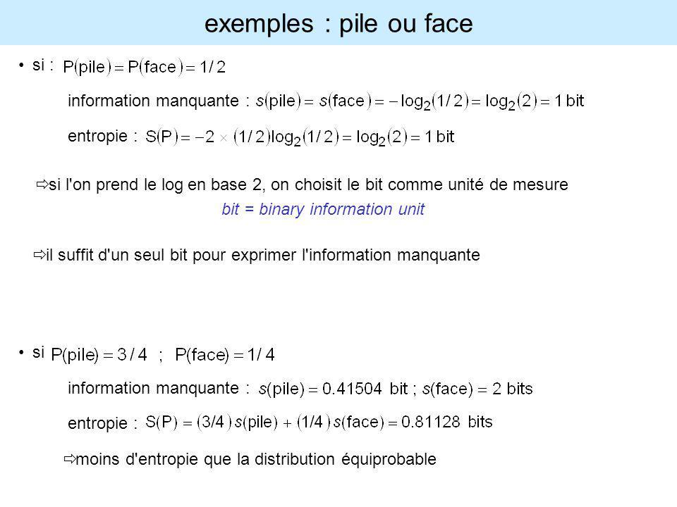 exemples : pile ou face si : information manquante : entropie : si l'on prend le log en base 2, on choisit le bit comme unité de mesure bit = binary i