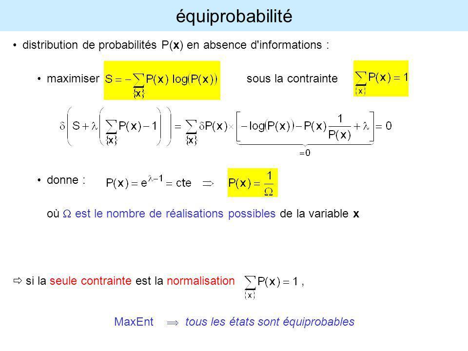 équiprobabilité distribution de probabilités P(x) en absence d'informations : maximisersous la contrainte donne : où est le nombre de réalisations pos