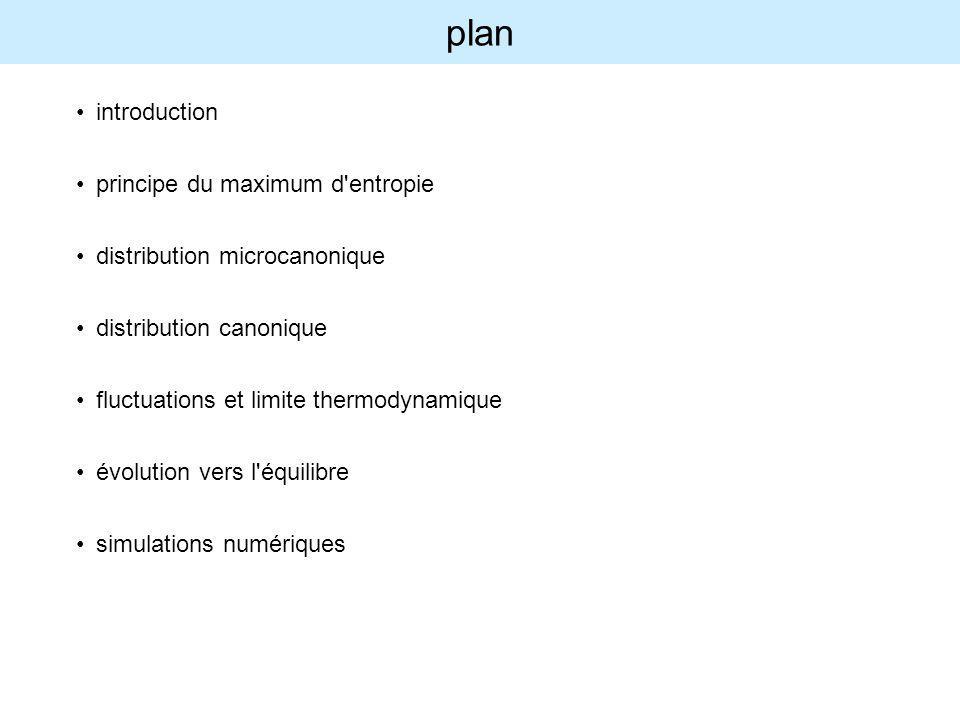 plan introduction principe du maximum d'entropie distribution microcanonique distribution canonique fluctuations et limite thermodynamique évolution v