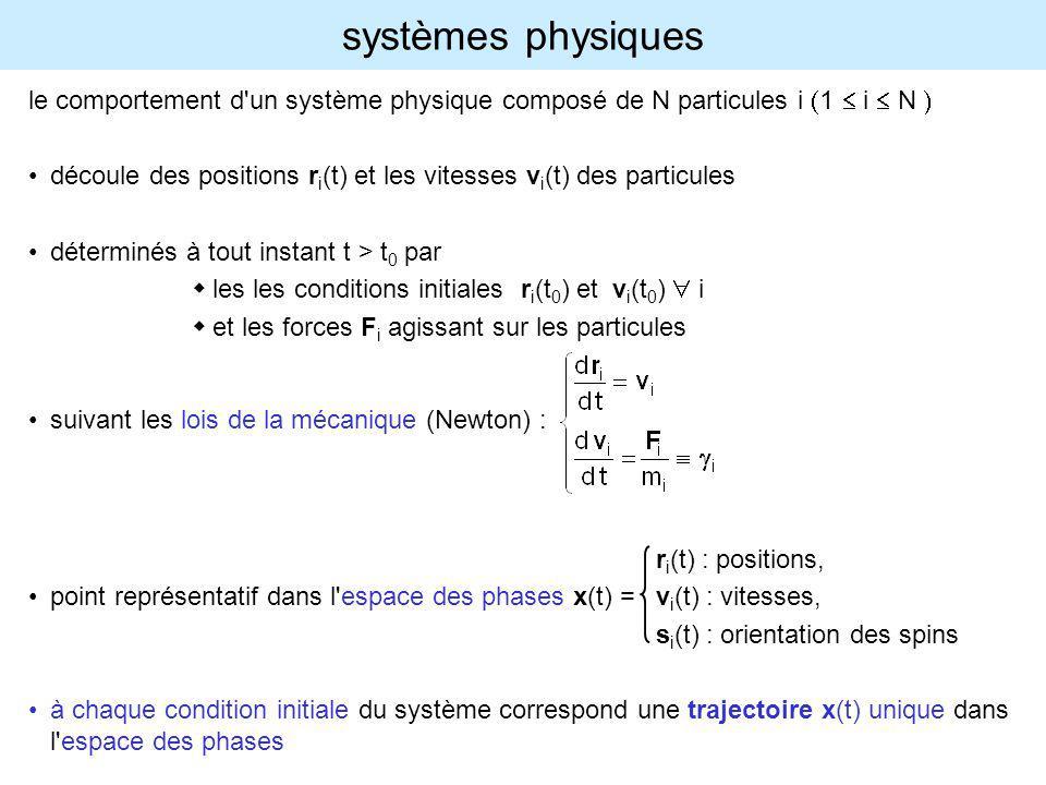 systèmes macroscopiques pour connaître l état du système il n y a qu à calculer les trajectoires r i (t), v i (t) en intégrant les équations de Newton mais...