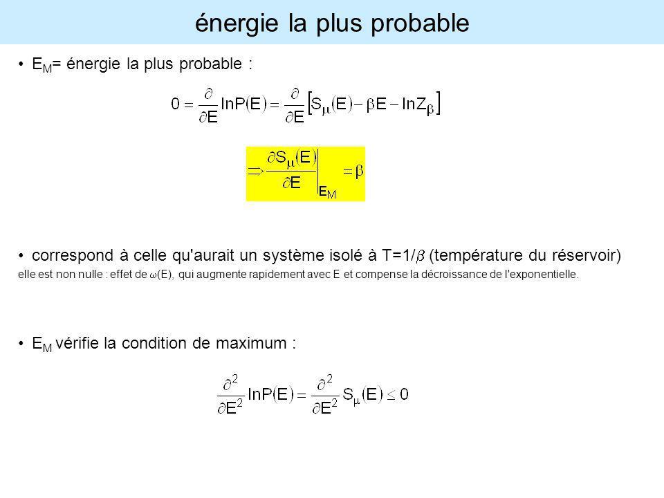 énergie la plus probable E M = énergie la plus probable : correspond à celle qu'aurait un système isolé à T=1/ (température du réservoir) elle est non