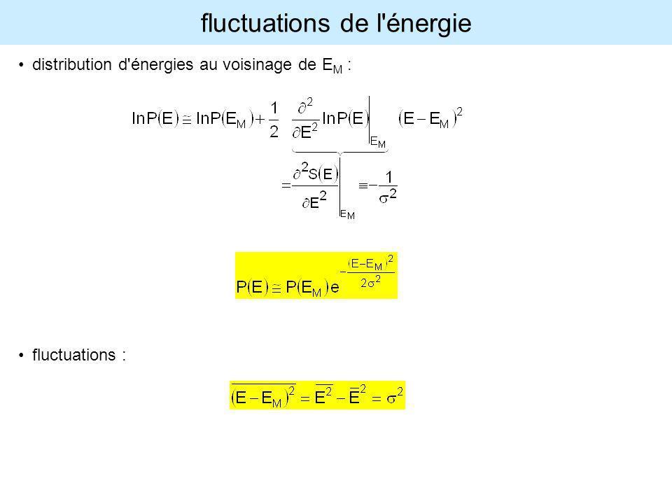 fluctuations de l'énergie distribution d'énergies au voisinage de E M : fluctuations :