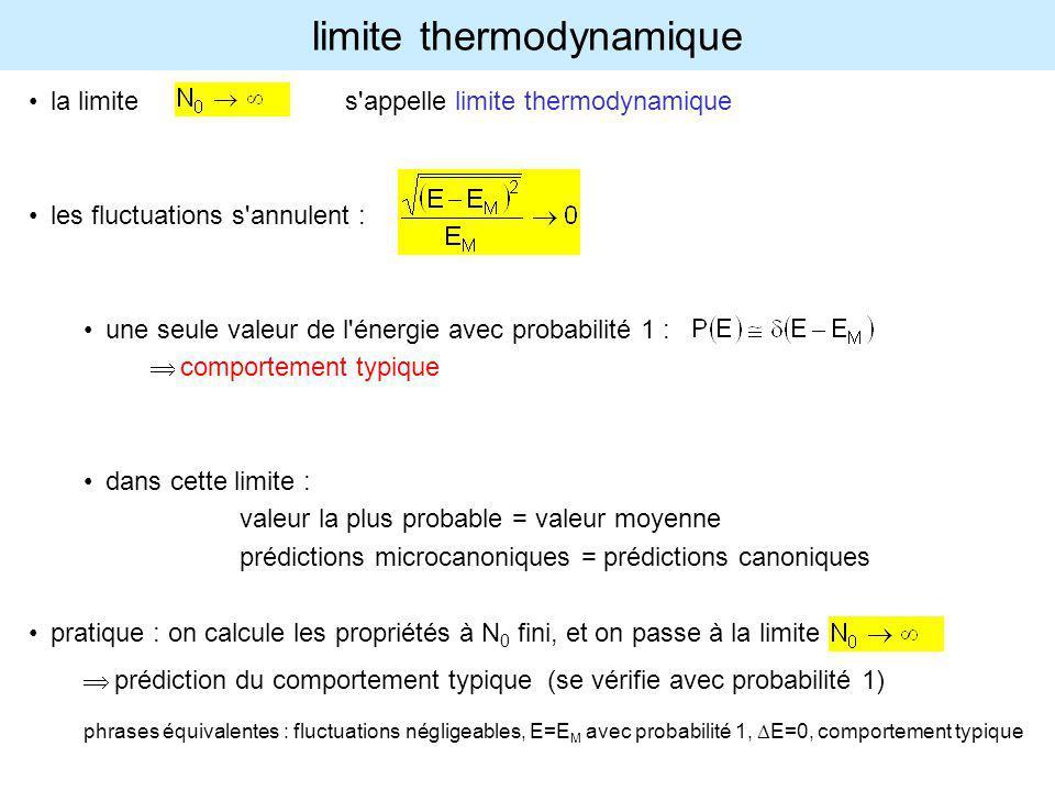 limite thermodynamique la limite s'appelle limite thermodynamique les fluctuations s'annulent : une seule valeur de l'énergie avec probabilité 1 : com