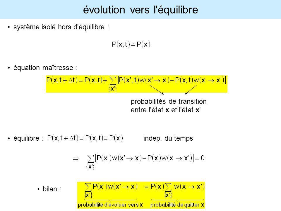 évolution vers l'équilibre système isolé hors d'équilibre : équation maîtresse : équilibre : indep. du temps bilan : probabilités de transition entre