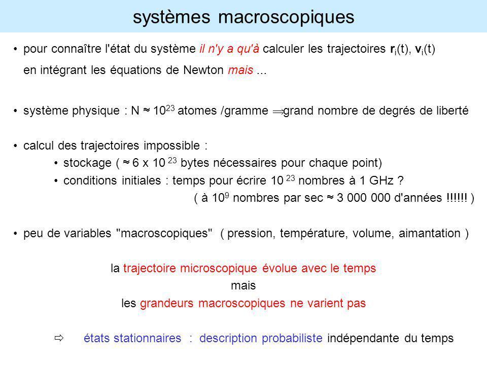 au cours de son évolution temporelle, le système visite tous les états microscopiques compatibles avec les contraintes macroscopiques on considère un ensemble de systèmes identiques, distribués dans l espace des phases avec une densité de probabilités compatible avec les contraintes au lieu de calculer les propriétés moyennes sur la trajectoire des phases, on calcule les moyennes (statistiques, instantanées) sur un ensemble de points représentatifs du système la plupart des évolutions temporelles (microscopiques) présentent les mêmes propriétés macroscopiques : dans la limite des très grands systèmes, les trajectoires atypiques représentent une fraction négligeable des trajectoires possibles au lieu de calculer les propriétés moyennes sur une trajectoire particulière, on calcule les moyennes (statistiques) sur toutes les conditions initiales possibles, correspondant à autant de trajectoires possibles mécanique statistique hypothèse ergodique : les moyennes temporelles le long de la trajectoire dans l espace des phases sont égales aux moyennes d ensemble dans l espace des phases Question : quelle P(x) adopter pour l ensemble statistique ?