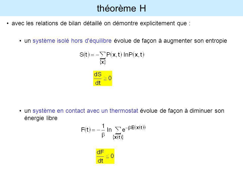 théorème H avec les relations de bilan détaillé on démontre explicitement que : un système isolé hors d'équilibre évolue de façon à augmenter son entr