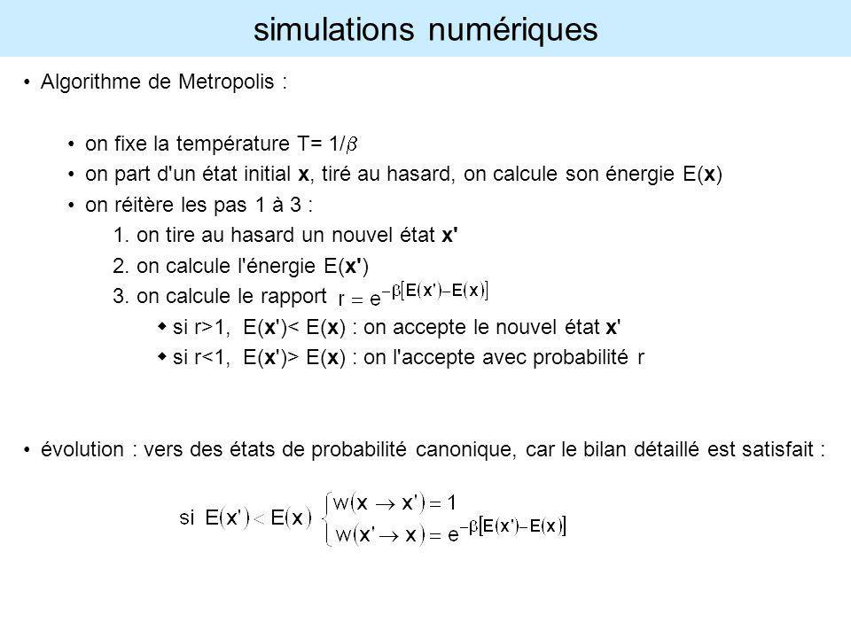 simulations numériques Algorithme de Metropolis : on fixe la température T= 1/ on part d'un état initial x, tiré au hasard, on calcule son énergie E(x