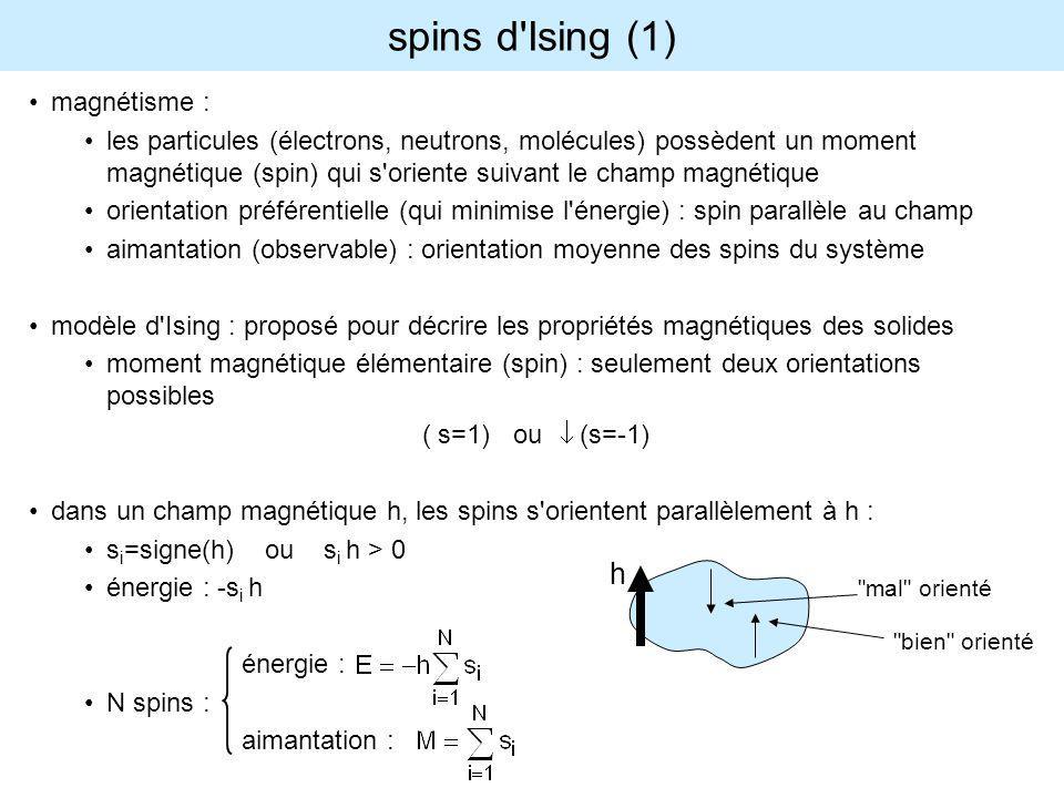 modèle d Ising (2) spins en interaction : les spins s k produisent un champ sur le spin s i (qui se rajoute au champ externe) donné par : où les J ik sont les constantes d interaction énergie du système de N spins en interaction : remarque : J ik sisi sksk