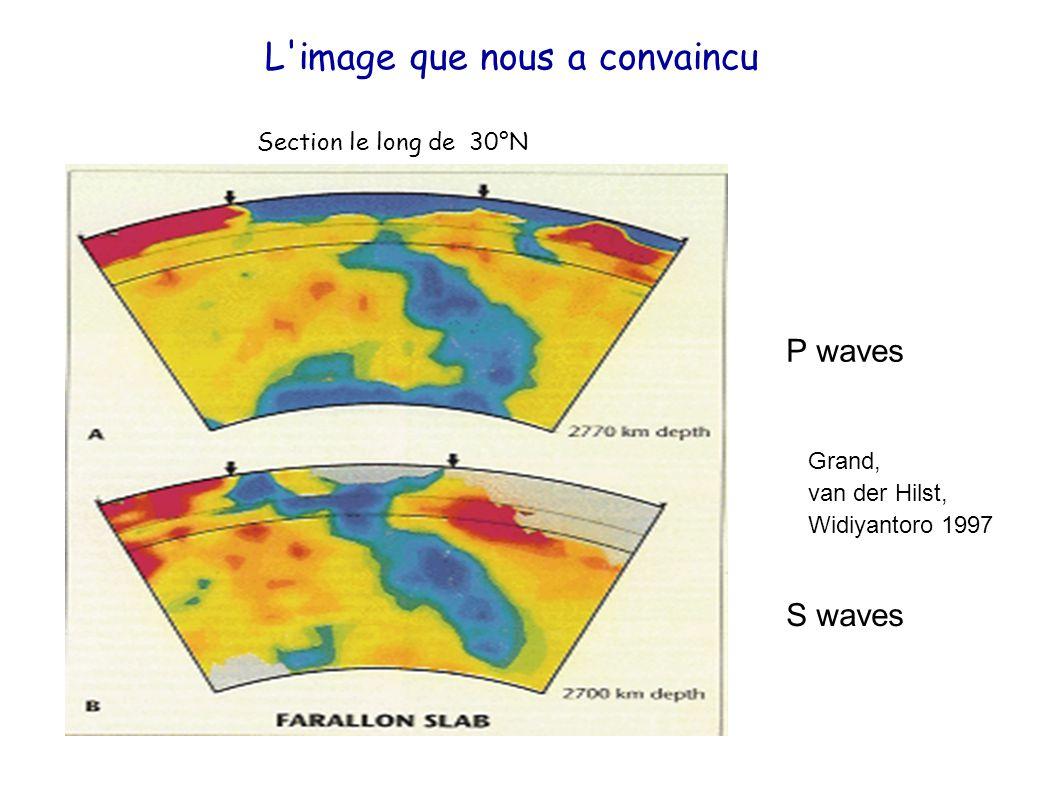 L'image que nous a convaincu P waves S waves Section le long de 30°N Grand, van der Hilst, Widiyantoro 1997