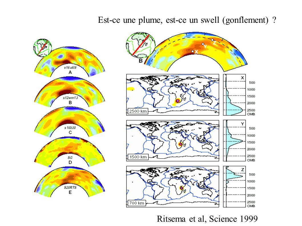 Est-ce une plume, est-ce un swell (gonflement) ? Ritsema et al, Science 1999