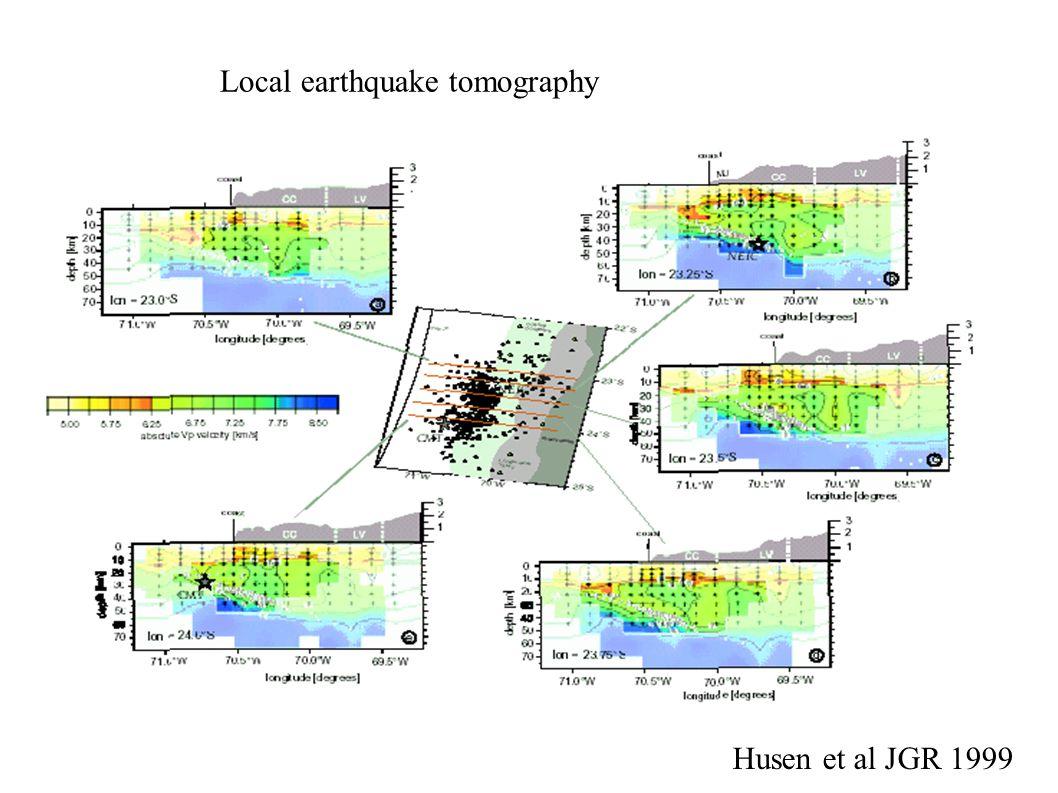 Local earthquake tomography Husen et al JGR 1999
