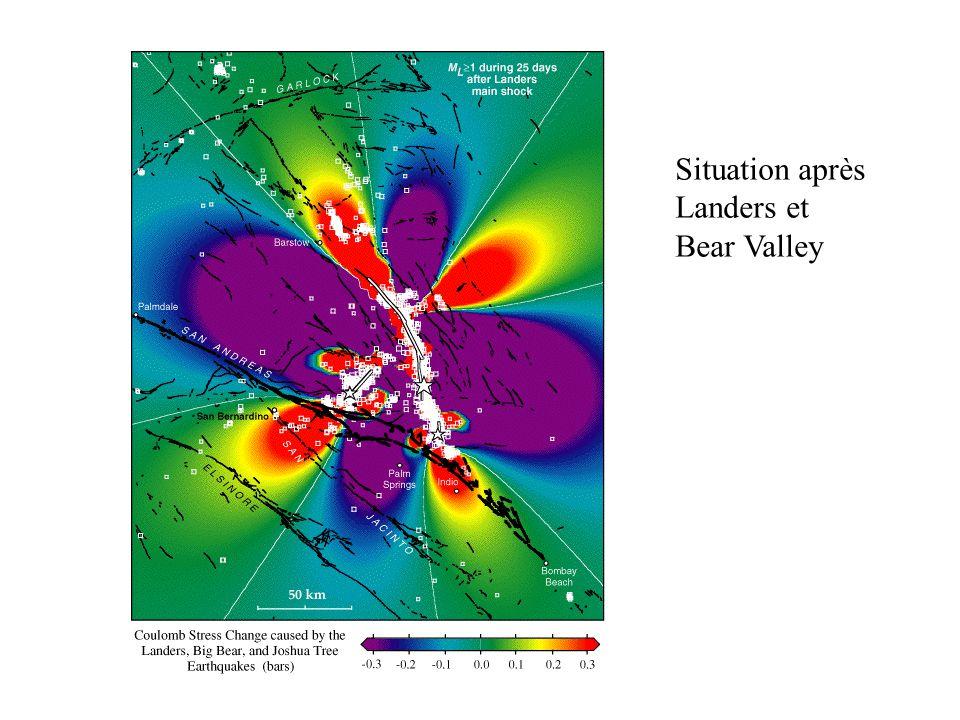 Situation après Landers et Bear Valley