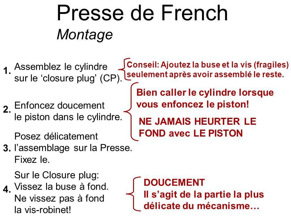 Presse de French Montage Assemblez le cylindre sur le closure plug (CP). Enfoncez doucement le piston dans le cylindre. Posez délicatement lassemblage