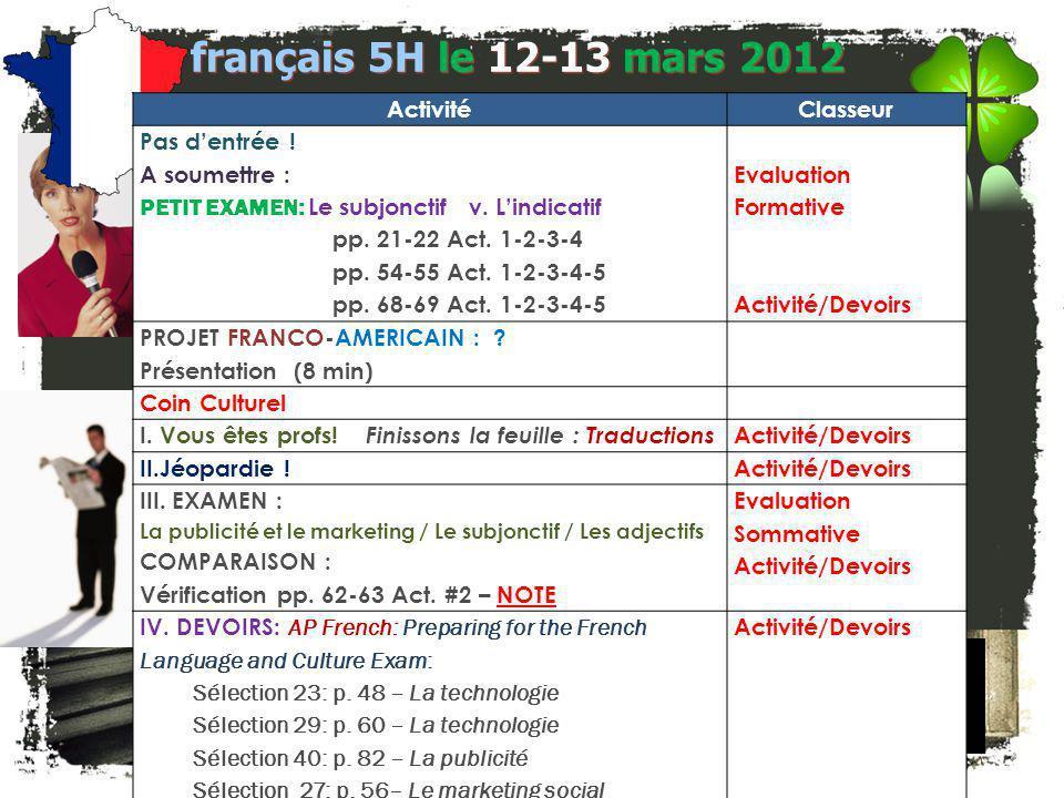 français 5H Le 12-13 mars 2012