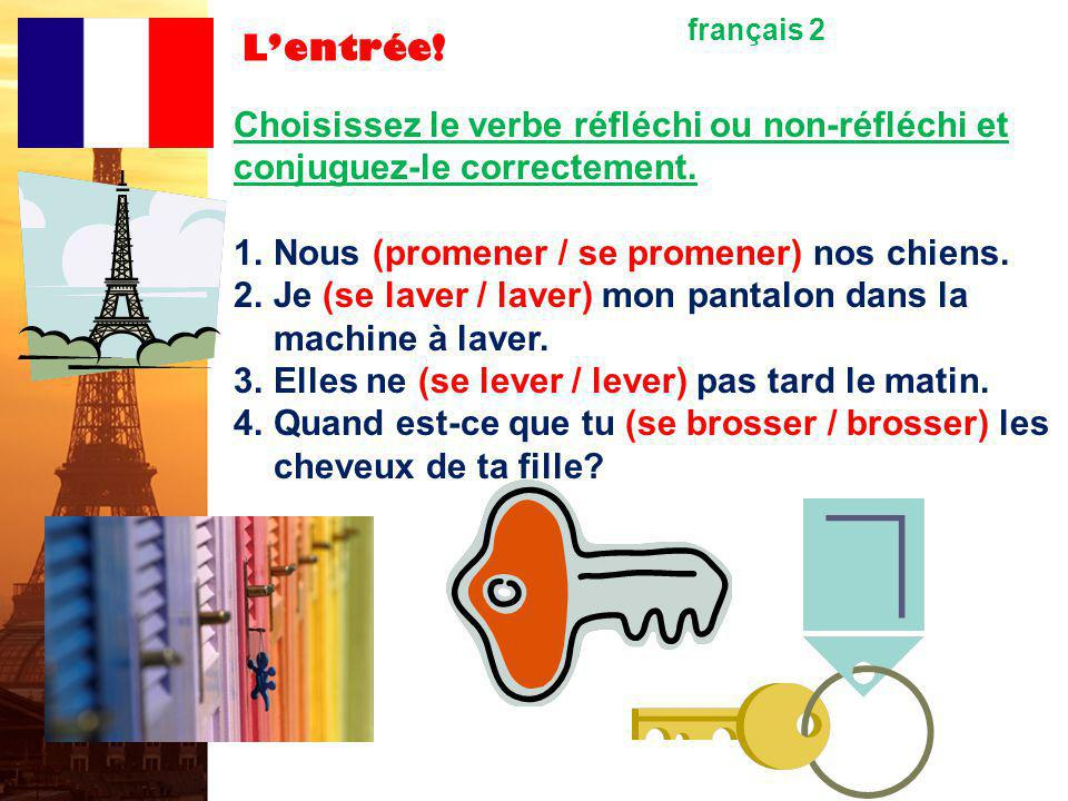 Lentrée.français 2 Choisissez le verbe réfléchi ou non-réfléchi et conjuguez-le correctement.